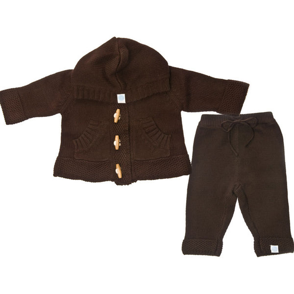 Knit Hoodie & Pant Set Brown Baby Clothes