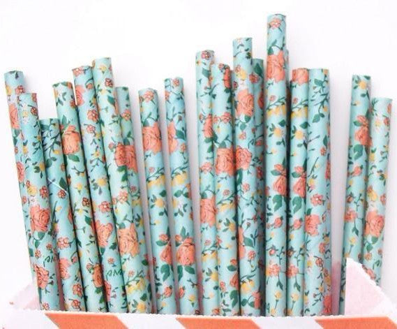 Floral Bio-Degradable Straws (25 pack)
