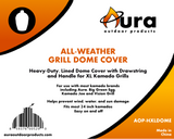 Heavy Duty Premium Weather Resistant Kamado Grill Dome Cover, Extra Large - Aura Outdoor Products The Best Kamado Grills and Kamado Accessories. Ceramic Grill