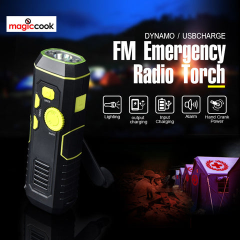 Magic Cook Emergency Crank Flashlight Radio with USB Charging in Out, Emergency Siren  EZ-SB-5032
