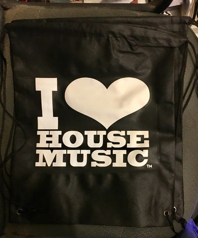 I Love House Music Gear Drawstring Backpack Blk w Wht