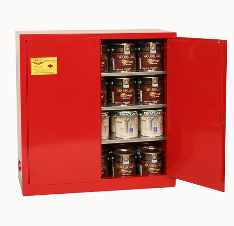 40 Gallon Manual Closing Red Paint and Ink Safety Cabinet - Eagle
