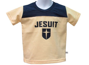 Boys Infant and Toddler Navy/Gold Short Sleeve Yoked Tee