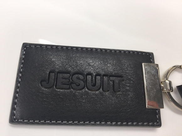 Jesuit embossed leather key chain