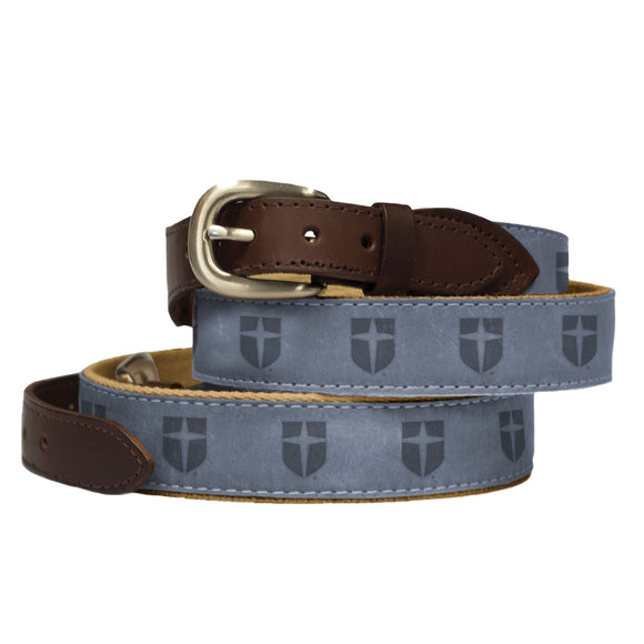 Nubuck Suede Leather Belt Embossed with Shield