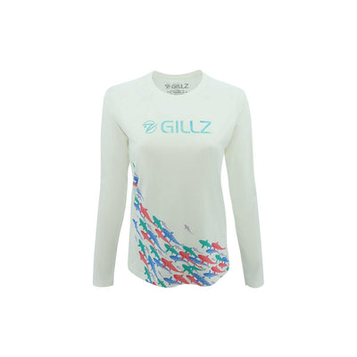 "Gillz Women's Long Sleeve UV ""Here Fishy Fishy"" - White"