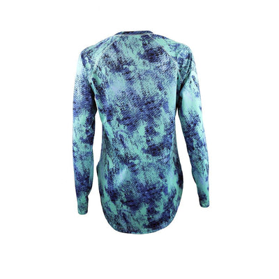"Gillz Women's Long Sleeve Seabreeze ""Grunge Scales All Over Print"" - Ocean Wave"
