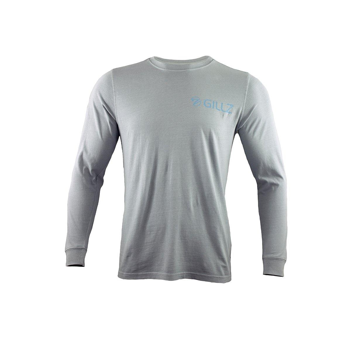 "Gillz Men's Long Sleeve Tee ""Fishhead Logo"" - High Rise Grey"