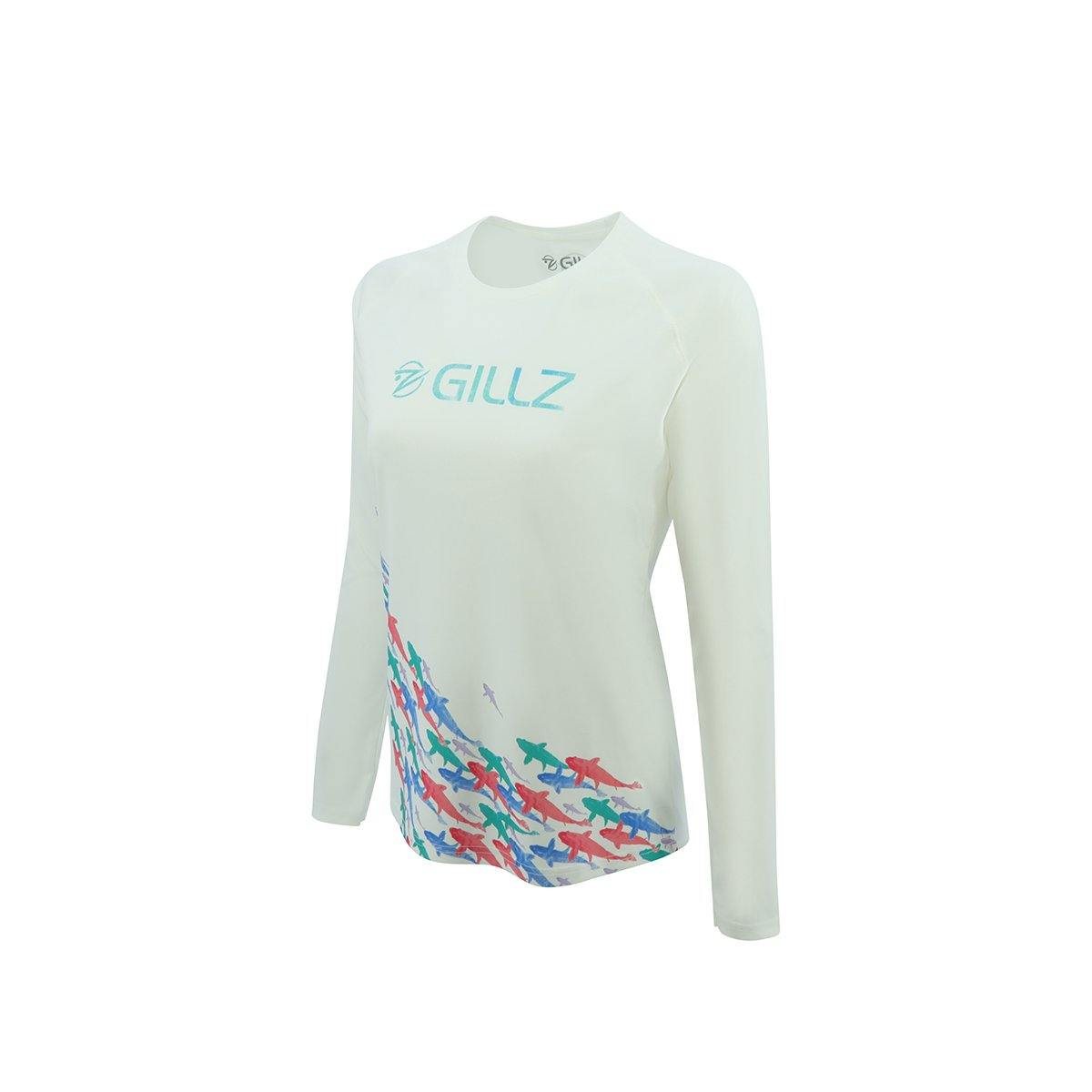 "Gillz Women's Long Sleeve UV ""Here Fishy Fishy"" - White - Gillz"
