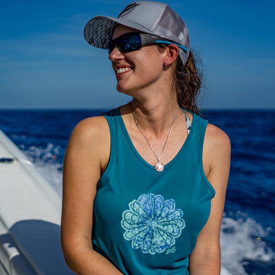 "Women's Deep Water Tank ""Flower Hook"""