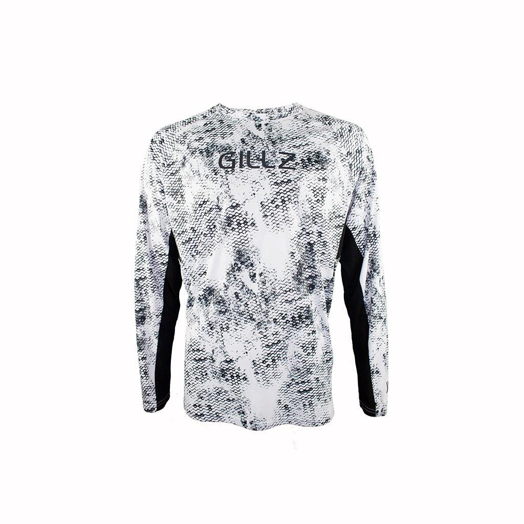 "Gillz Men's Long Sleeve UV Tournament Series ""Grunge Scale All Over Print"" - Black on White"