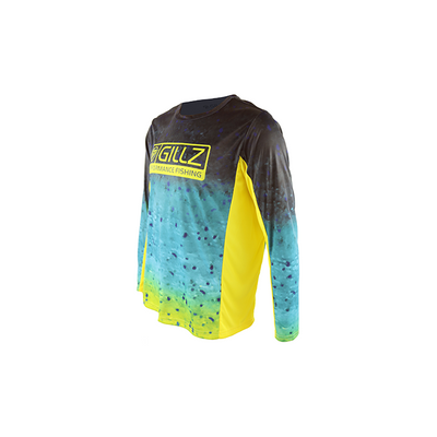 "Gillz Men's Long Sleeve UV ""Extreme Mahi All Over Print"" - Aurora"