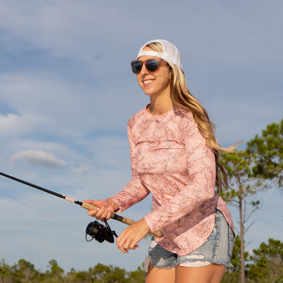 SeaBreeze Flying Tarpon AOP Long Sleeve Fishing Shirt