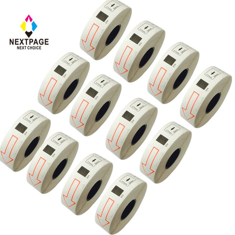 12 rolls New Compatible Brother DK-1204 Label Roll (0.66in x 2.1in; 17mmx54.3mm) without cartridge use with QL-1060N,QL-1050