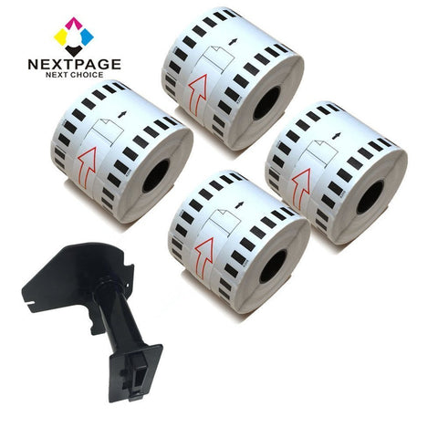 "NEXTPAGE®4 Rolls Brother compatible DK-2205 DK2205 Continuous Paper Label (2.4"" x 100')with 1 reusable Cartridge"