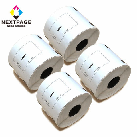 "4 Rolls Nextpage Compatible Brother DK-1202 DK1202 2.4"" x 3.9"" (62 mm x 100 mm) White Labels Roll With 1 Cartridge"