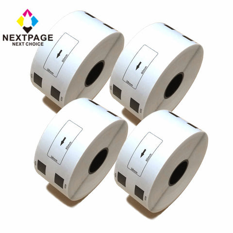 4 roll NEXTPAGE®Compatible for Brother DK-1208 DK1208 (1.4 in x 3.5 in) With one Cartridge & Free Cable Wire Winder (4 Roll White Large Address label DK-1208)