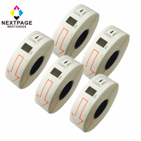 5 packs DK-1204 label compatible for Brother DK-1204 (0.66in x 2.1in ,17mmx54.3mm) with one cartridge use with QL-1060N,QL-1050,QL-700