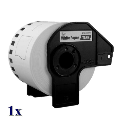 Compatible Brother Label Roll DK2205 (DK-2205) With Reusable Cartridge