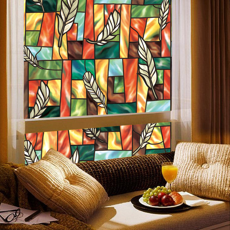 Feather Stained Glass Patterned Decorative Window Film 35 7 16 X39