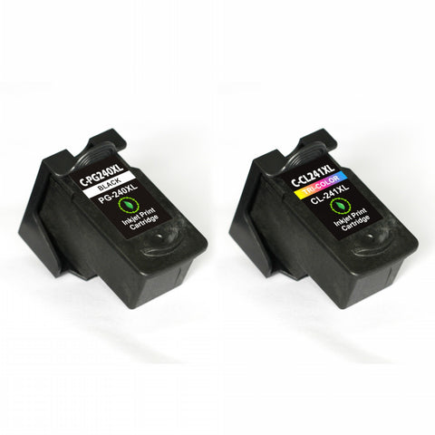 2 Packs remanufactured ink cartridge for Canon PG-240XL & CL-241XL with chip (Black/Tri-color)