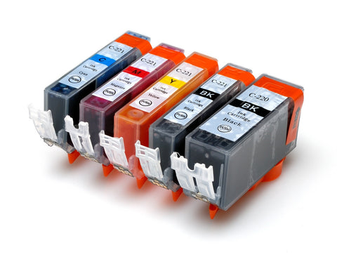 10 packs remanufactured ink cartridge for canon pgi-220/cli-221 with chip