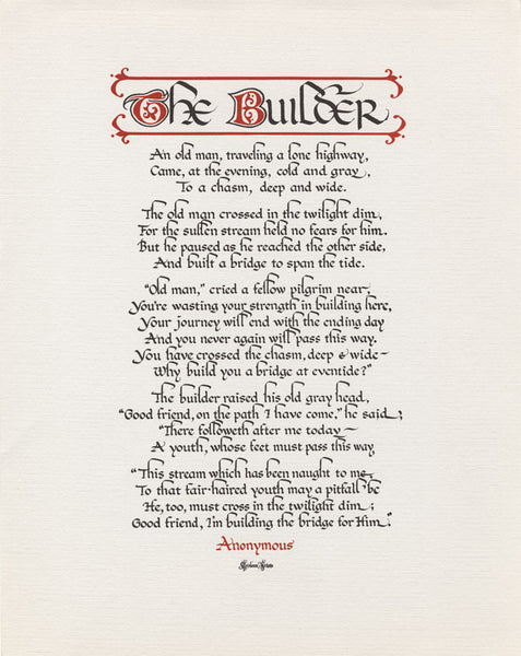 The Builder Archival Calligraphy Print by Holly Monroe