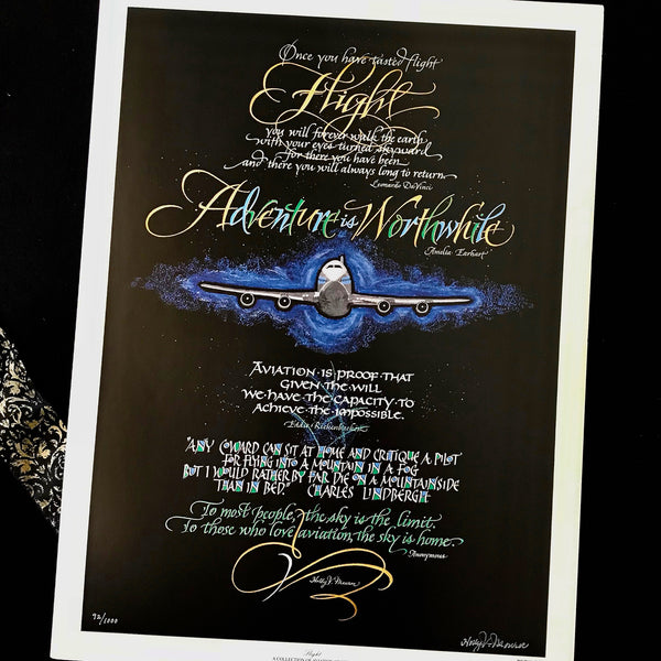 Flight aviation quotes DaVinci Earhart Rickenbacker calligraphy airplane print Holly Monroe