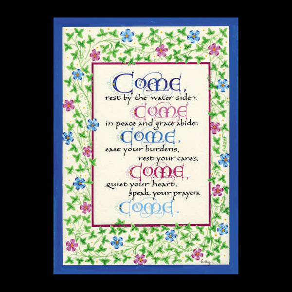 Come Come Come calligraphy print Matthew 11 Holly Monroe