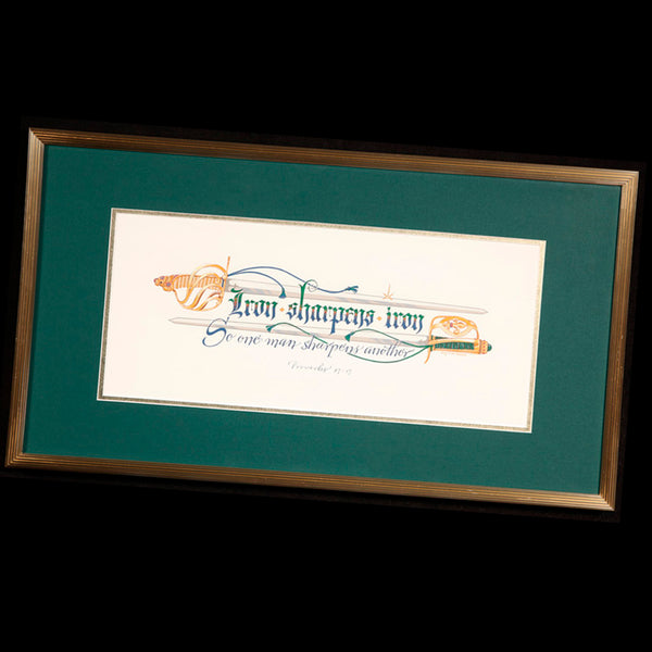 Iron Sharpen Iron Proverbs 27 17 Original Framed Calligraphy Print Holly Monroe Calligrapher