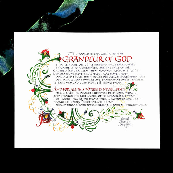 Grandeur of God by Gerard Manley Hopkins Holly Monroe calligraphy print