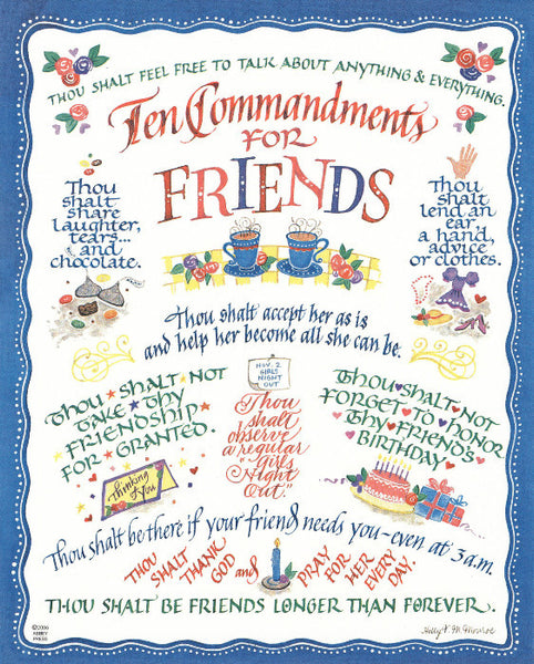 Ten Commandments For Friends Holly Monroe Calligraphy Print