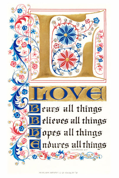 Love Bears All Things 1 Corinthians 13 Holly Monroe Calligraphy Print