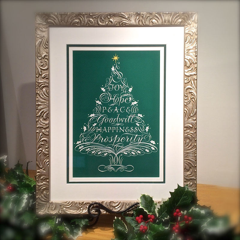 Holly Monroe framed calligraphy print Joy Hope Peace Goodwill Happiness Prosperity flourished Christmas Tree