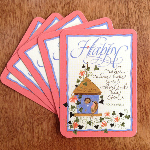 Happy Is He Pass It On Card with Holly Monroe Calligraphy