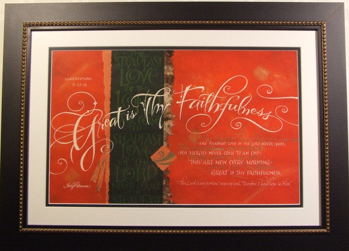 Great is Thy Faithfulness Holly Monroe calligraphy framed print Lamentations 3
