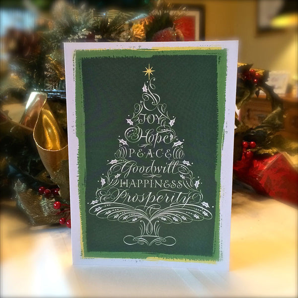 Christmas Tree Joy Hope Peace Goodwill Happiness Prosperity Holly Monroe calligraphy card