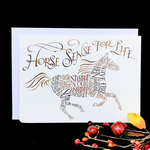 Horse Sense For Life Calligraphy Greeting Card Blank Inside Holly Monroe