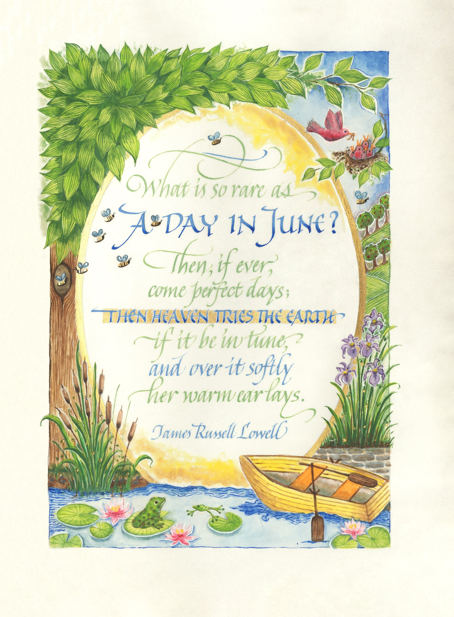 A Day In June   Calligraphy Print Holly Monroe