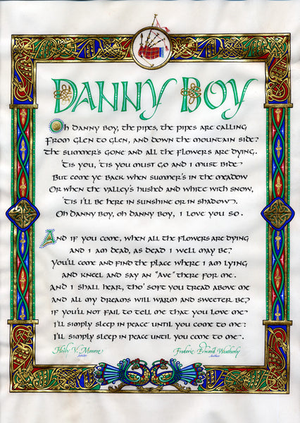 O Danny Boy Frederick Weatherly calligraphy print Holly Monroe