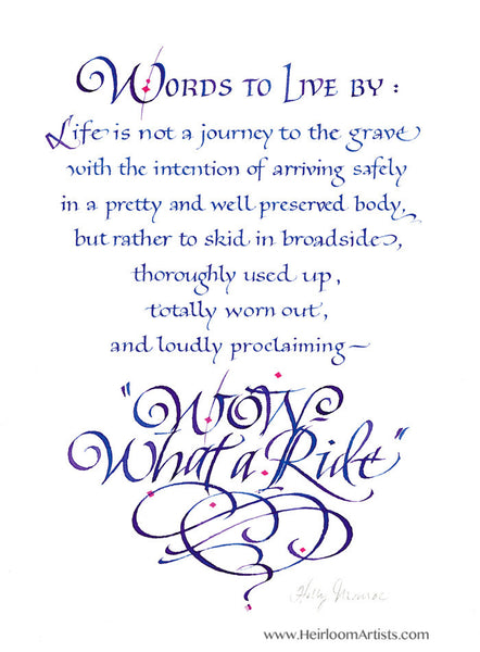 Wow What A Ride Holly Monroe Calligraphy Print