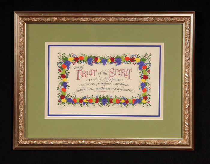 Fruit of the Spirit Galatians 22 Holly Monroe calligraphy framed print