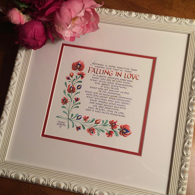 Carved white framed Falling in Love quote by Pedro Aruppe and calligrapher Holly Monroe