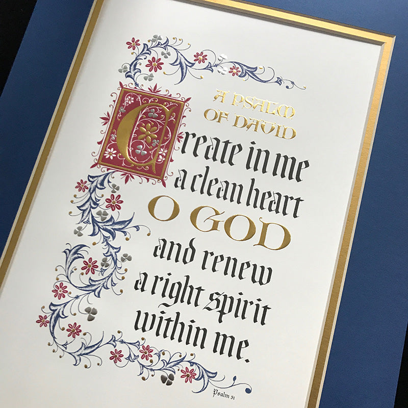 Create in Me a Clean Heart calligraphy print PS 51 Clifford Mansley