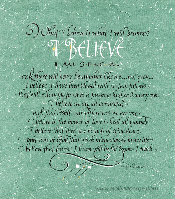 I Believe Calligraphy Print Holly Monroe Calligrapher