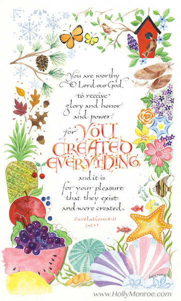 You Created Everything Holly Monroe Calligraphy Print