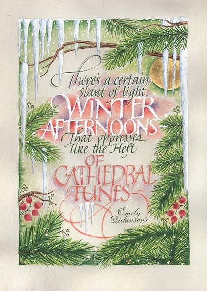 There's a certain Slant of light   Holly Monroe Calligraphy print