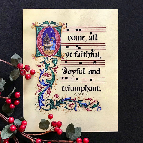 O Come All Ye Faithful Holly Monroe Calligraphy Print