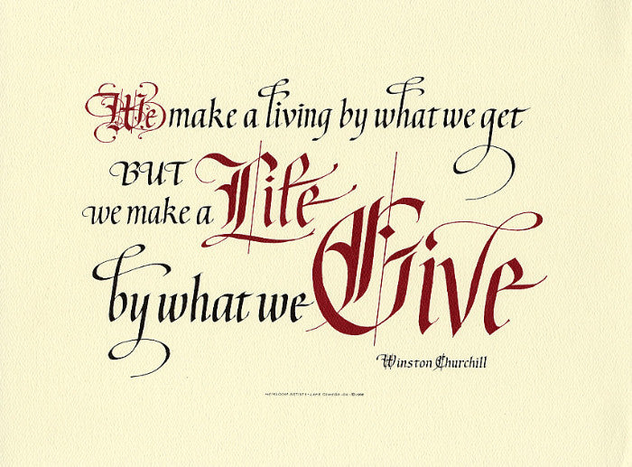 Winston Churchill We Make a Living Clifford D Mansley Sr Calligraphy Print