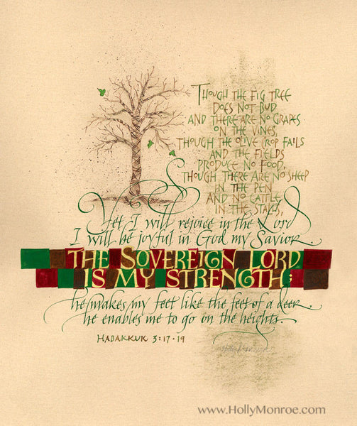 Though The Fig Tree Habakkuk Holly Monroe Calligraphy Print